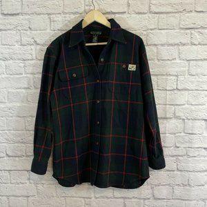 Ralph Lauren Small Flannel Top Plaid Shirt Button
